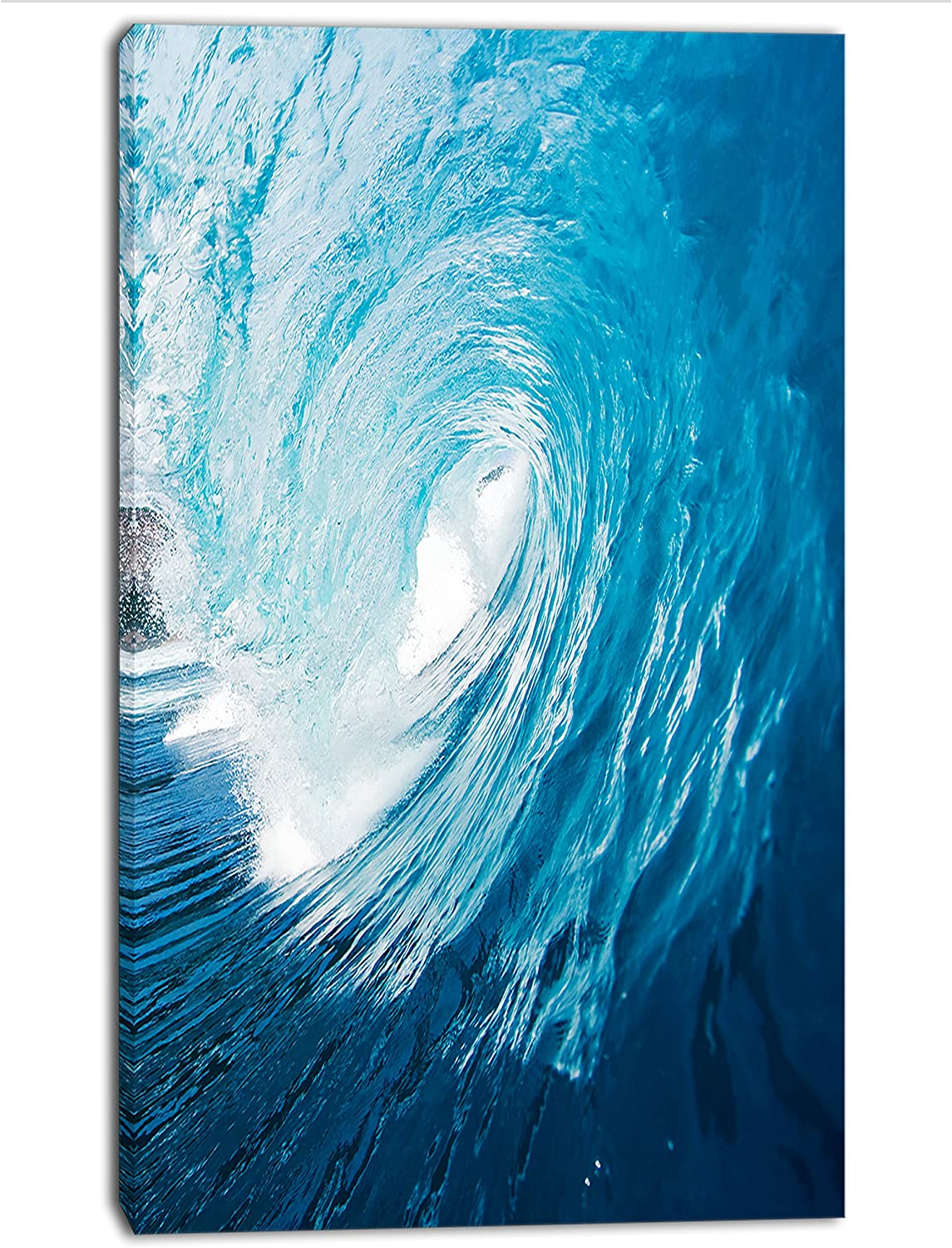 Green Waves Panoramic Canvas Print Modern Art 4 Sizes to Choose Ready to Hang