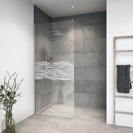 Mampara de ducha de vidrio templado con decoración LaserVision_010, ducha de cristal, grabado láser, varios diseños y dimensiones, incluye perfiles en cromo (alimentación Premium), 1200x2000m: Amazon.es: Hogar