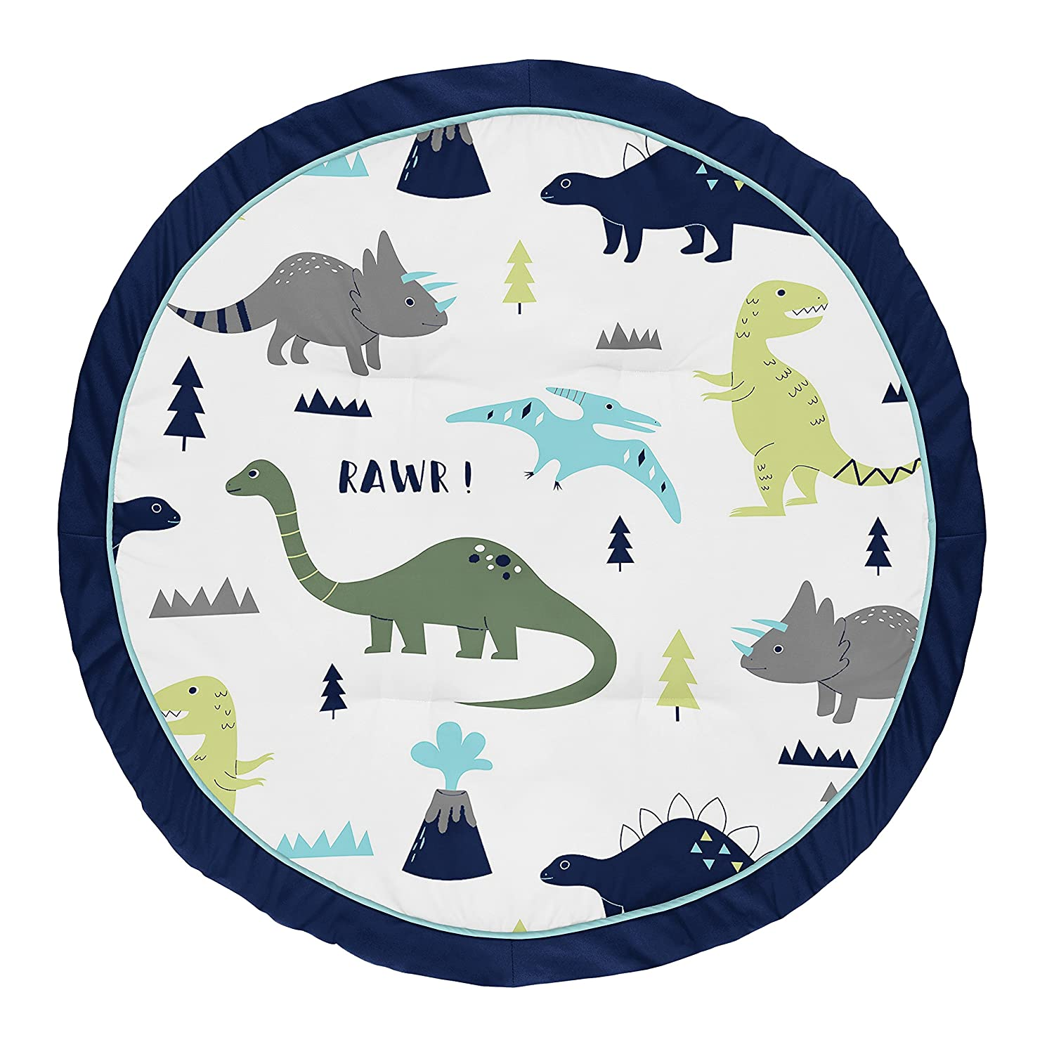 Sweet Jojo Designs Blue and Green Dino Playmat Tummy Time Baby and Infant Play Mat for Mod Dinosaur Collection