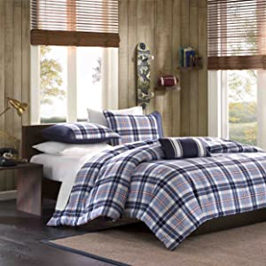 Mi-Zone Elliot Full/Queen Comforter Set Teen Boy Bedding - Navy, Plaid – 4 Piece Bed Sets – Peach Skin Fabric Bed Comforter