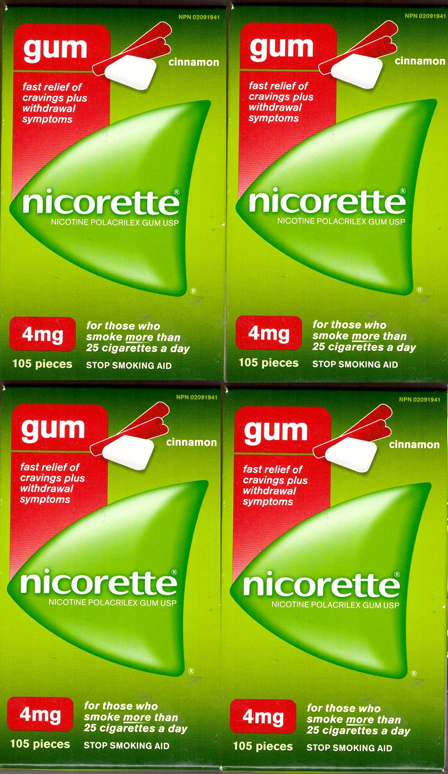 Nicorette Nicotine Gum: CINNAMON 4 MG (4 packs of 105, 420 Pieces) (Stop Smoking Aid)