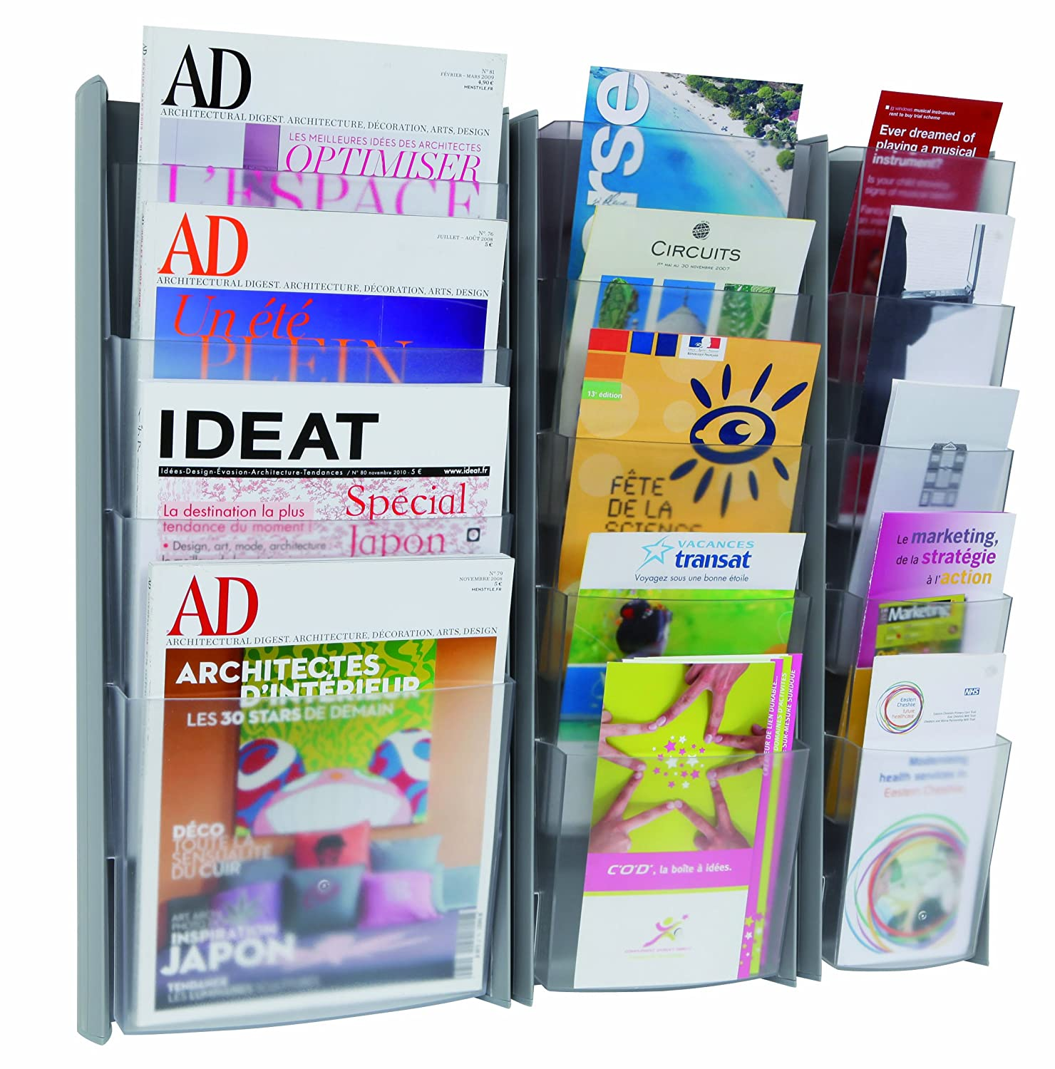 Amazon Alba 5 Pocket Wall Document Display for Leaflets and Brochures 1 3 Letter Size Pockets Black DDPROPMN Literature Organizers fice