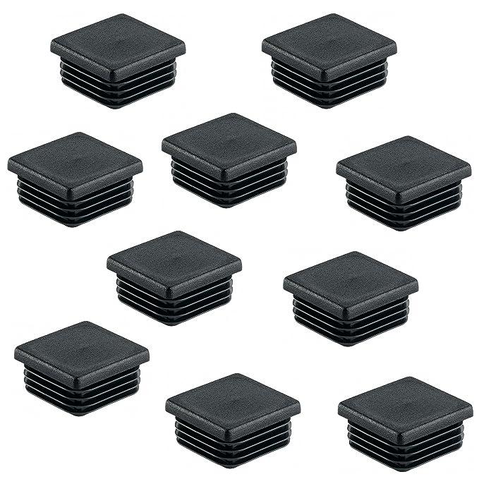 Lot de 4–gedotec® PE rohrstopfen Noir pied Capuchons en plastique pour tube carré–Forme Bouchon de tube carré–Bouchon à lamelles 80x 80