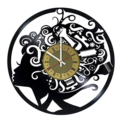 Hair stylist barber shops tools vinyl record wall clock – gift idea for hairdressers, stylists, barbers, hair stylists – barber shops and beauty salon house decor – customize your clock