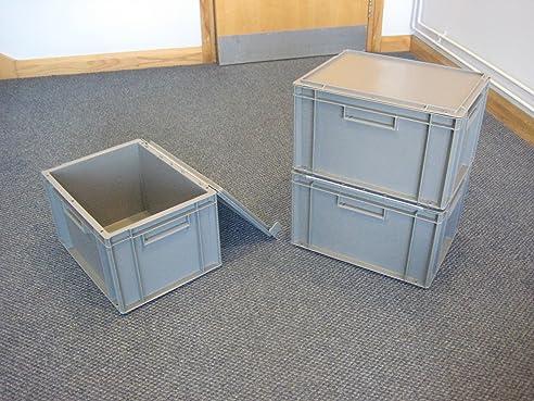 5 Neue Grau Kunststoff Aufbewahrung Kisten Box Container 20L
