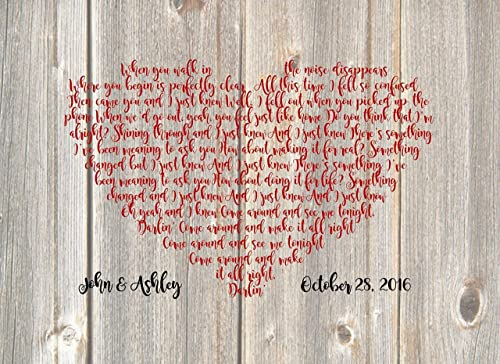 Song Lyrics In A Heart Personalized Rustic Canvas First Dance Song Wedding Song On Canvas First Dance Song Lyrics Anniversary Gift