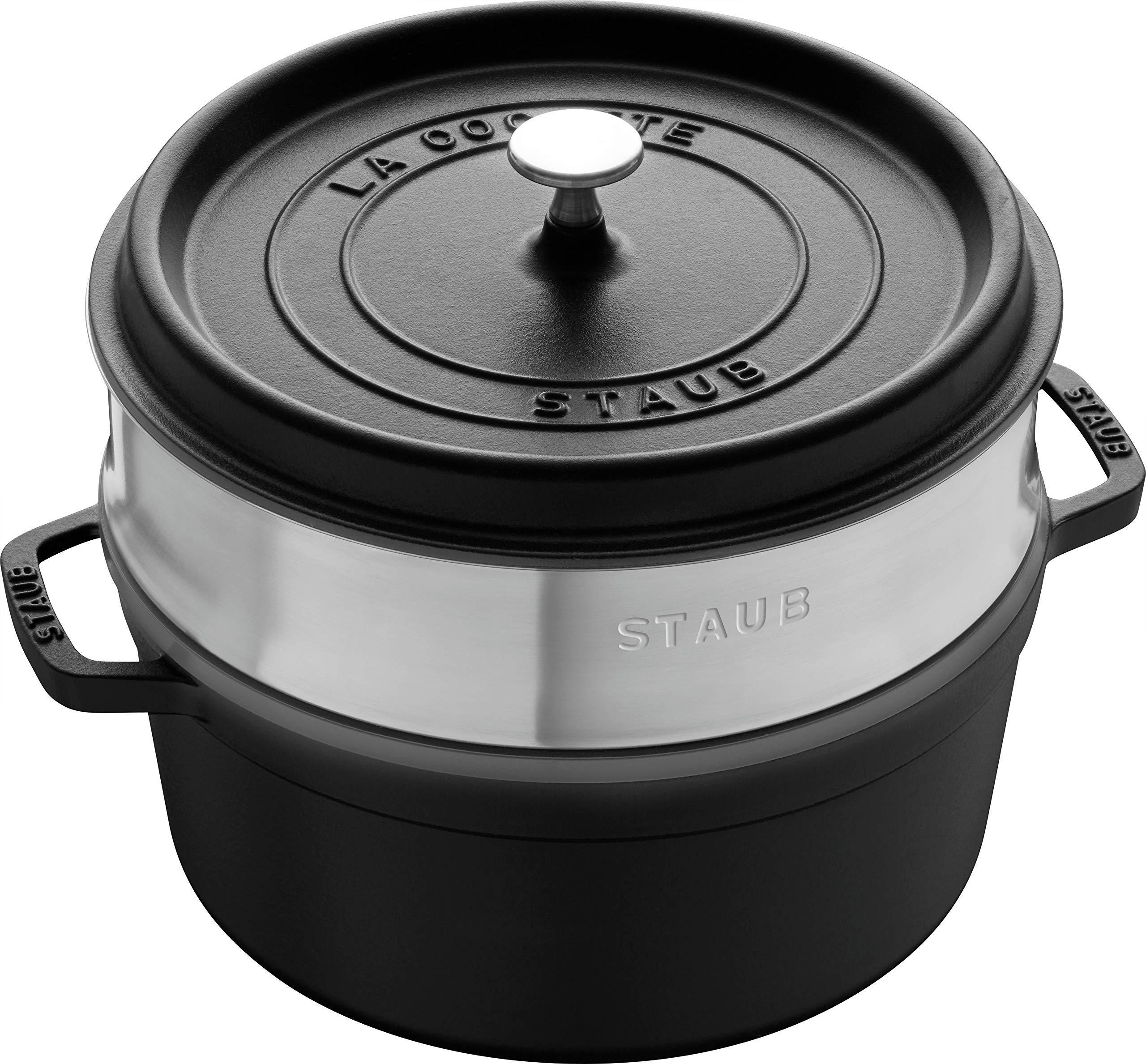 Staub 5.5 Quart Round Cocotte in Matte Black With Steamer Insert