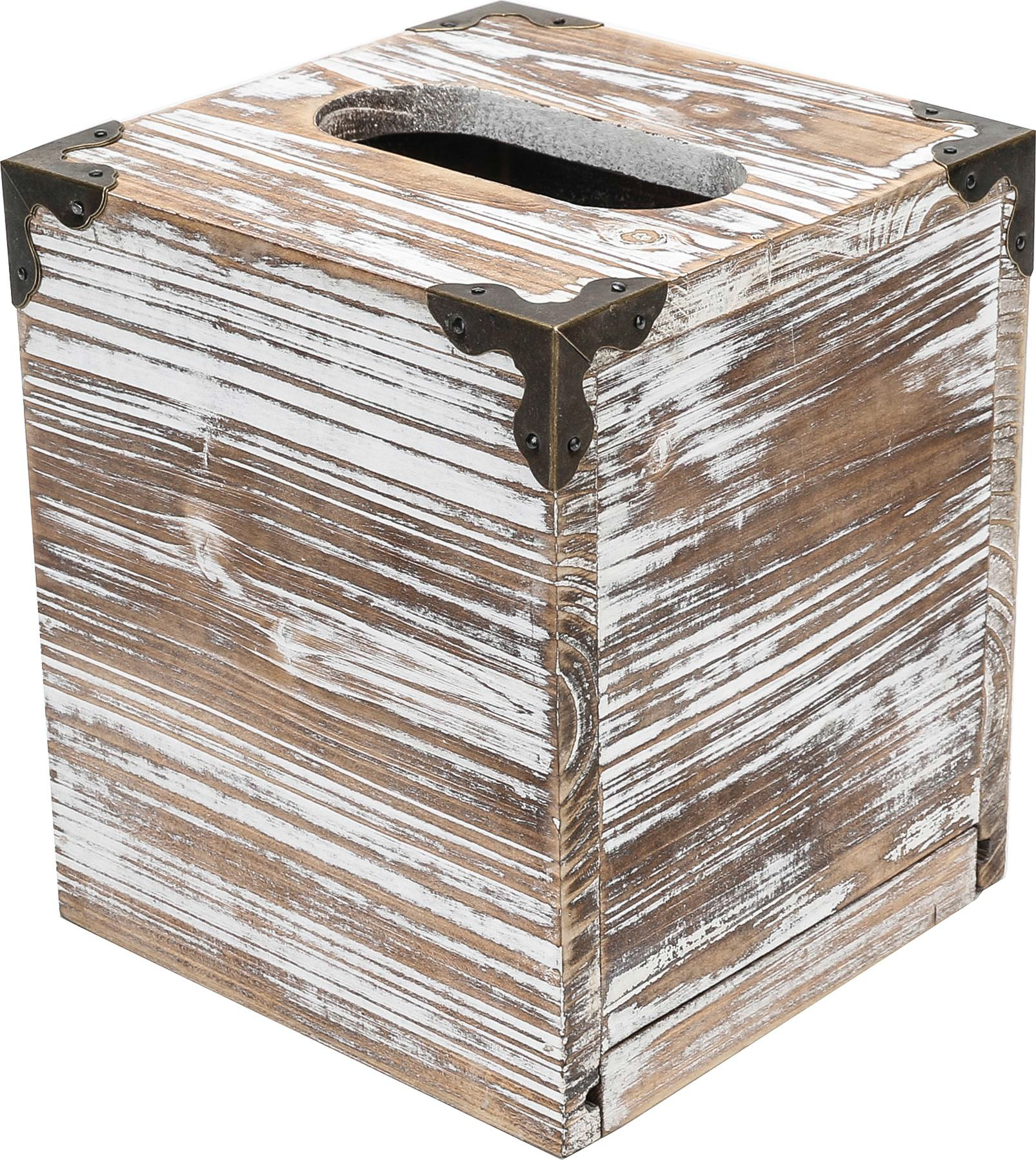 Rusoji Rustic Style Torched Wood Square Facial Tissue Box Holder Cover with Metal Accents, Brown