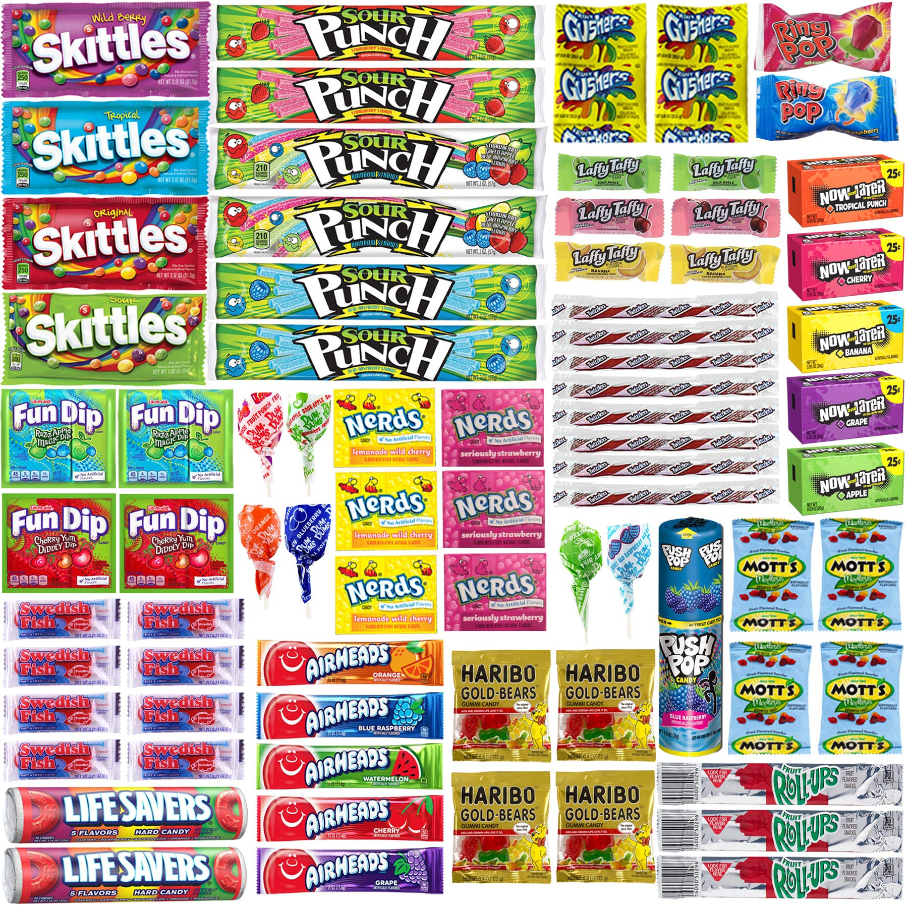 Assorted Candy Bulk Individually Wrapped Candies Assortment - Huge Party Mix of Airheads, Skittles, Sour Punch, Swedish Fish, Nerds, Twizzlers and More (76 Count Variety Pack, Appx. 3.5 Lbs) by Blunon