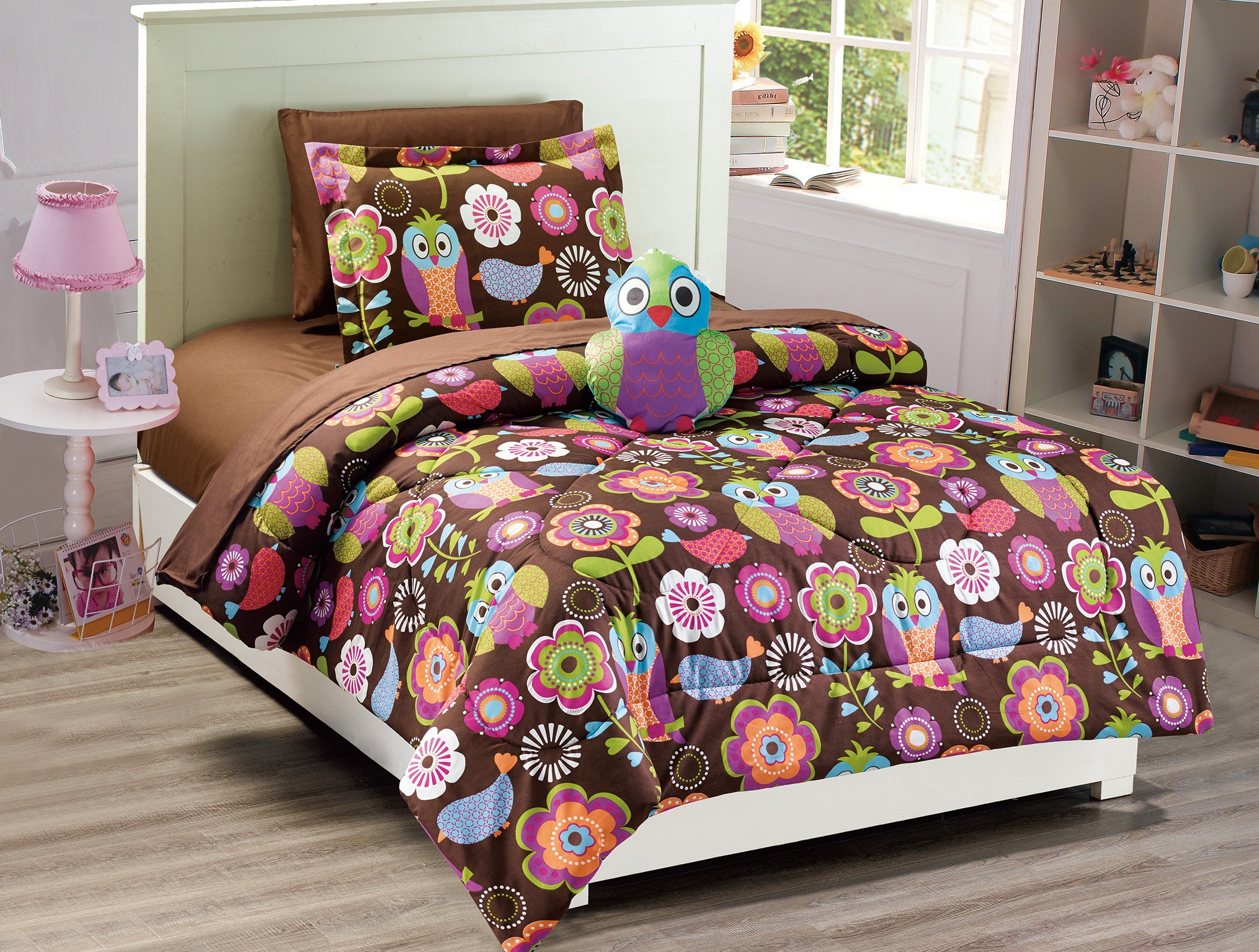 Mk Collection Owl Brown Purple Pink Green White 6 pc c Comforter And sheet set With Furry Buddy Included New Twin Size