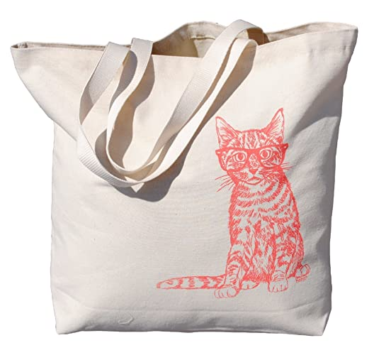 c37e155702 Amazon.com: Cat Canvas Tote Bag - Travel Market Shopper Beach Shoulder -  Pink: Handmade