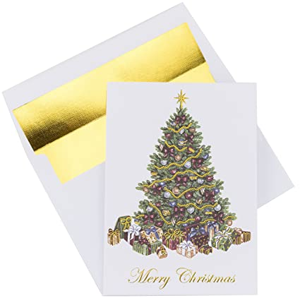 Foil Christmas Tree.Premium Christmas Cards 20 Pack Traditional Christmas Tree With Gold Embossed Foil And Linen Texture 20 Heavyweight Holiday Cards And Gold Foil