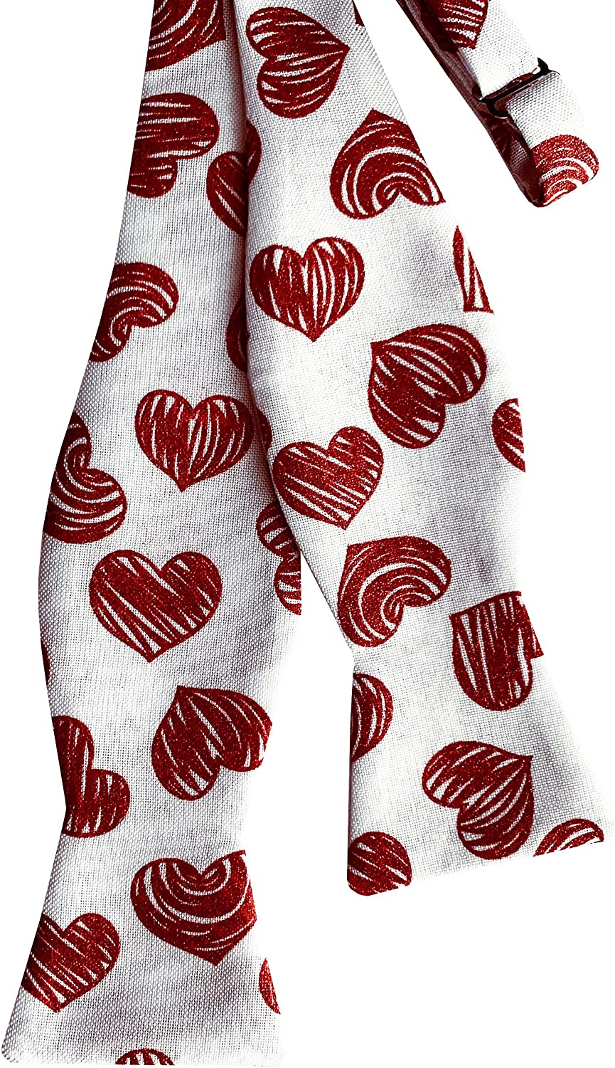Men/'s and Boys Sizing Valentine Sweetheart Tiny Heart with Gold and Silver Metallic Design Handcrafted in the USA Self-Tie Bow Tie