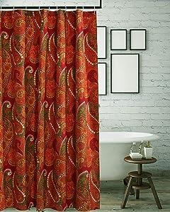 Greenland Home Tivoli Shower Curtain, 72x72-inch, Cinnamon