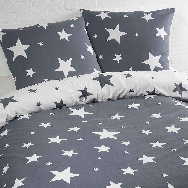 Aminata – Bettwäsche Sterne 135x200 cm Baumwolle + Reißverschluss zum Wenden Sternenmotiv Sternchen Stars Grau Anthrazit Weiß Wendebettwäsche 2-teiliges Bettwäscheset Normalgröße Jungen Mädchen