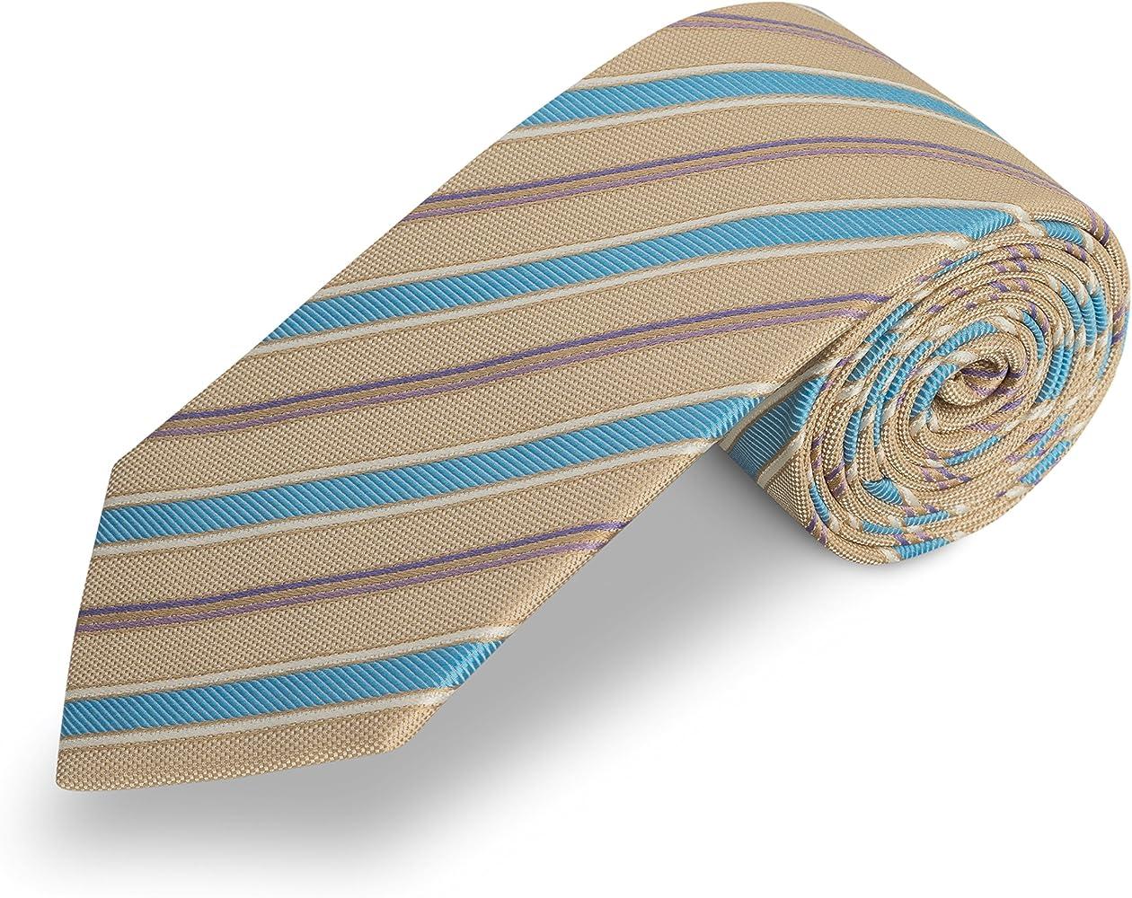 Corbata beige rayas azul - corbatas marron claro - corbata ...