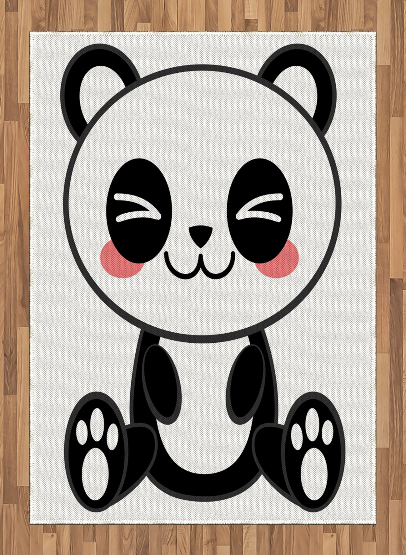 Anime Area Rug by Ambesonne, Cute Cartoon Smiling Panda Fun Animal Theme Japanese Manga Kids Teen Art Print, Flat Woven Accent Rug for Living Room Bedroom Dining Room, 5.2 x 7.5 FT, Black White Gray