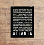 Atlanta Print - Neighborhoods - Subway Sign Poster, Wall Art, Décor, Canvas, Word Map, Gift, Bus Scroll, Typography, Minimal, Custom, Personalized