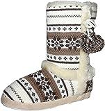 Womens Girls Dunlop Farrah Faux Fur Lined Fairisle Boot Slippers Sizes 3 - 8