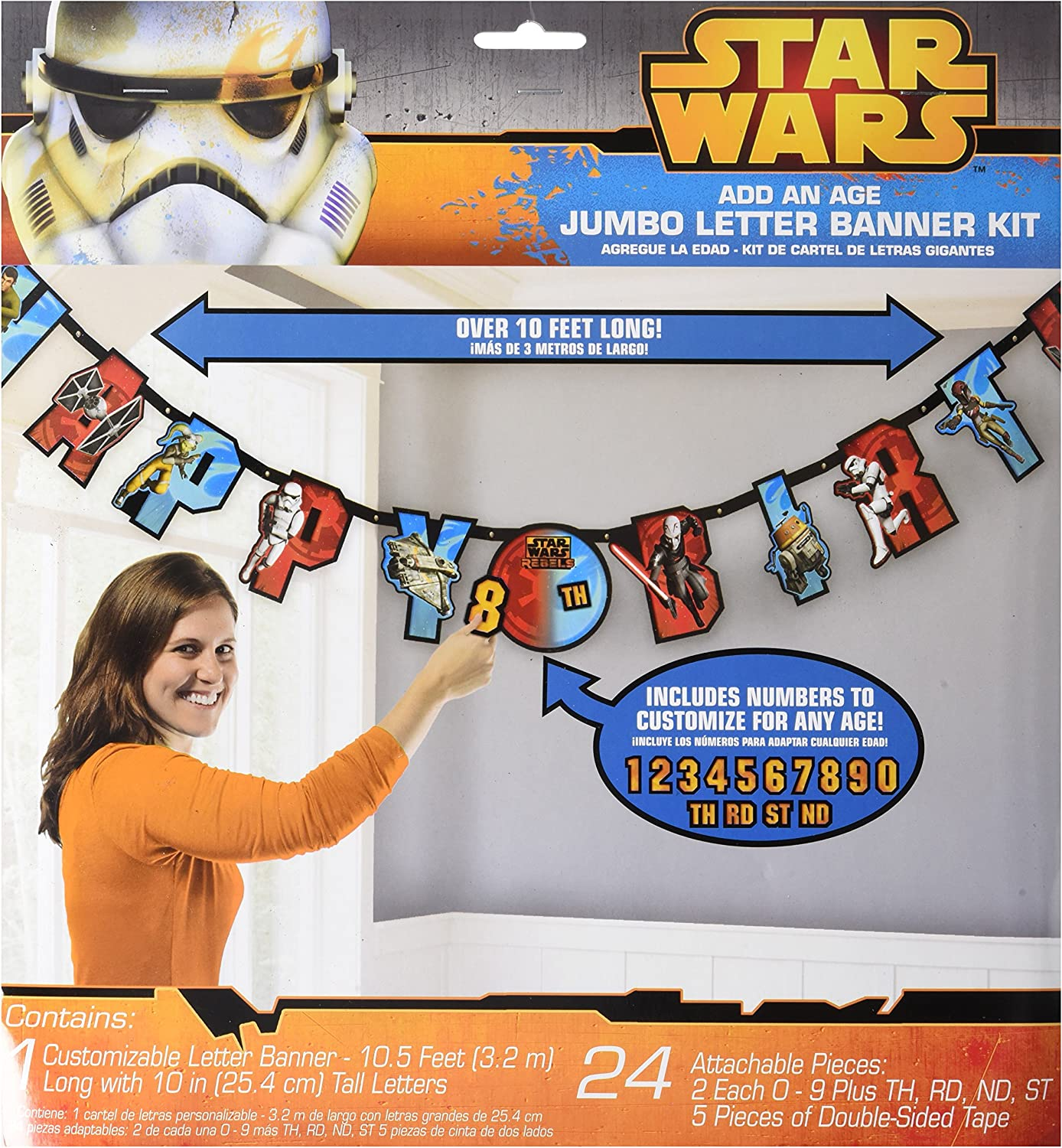 Amscan Star Wars Rebels Birthday Party Add-An-Age Customizable Jumbo Letter Banner Decoration, 10 1/2 X 10