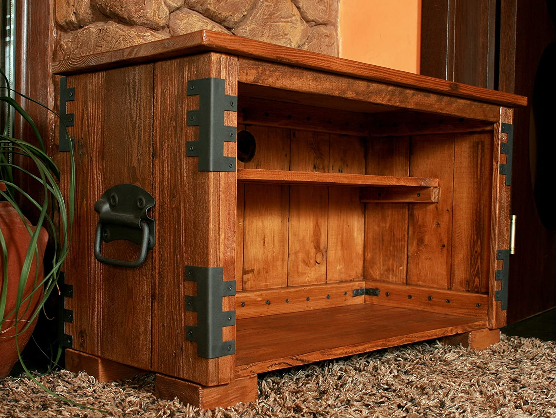 Massivholz Rustikal Unikat HiFi Eckschrank Vintage,Schrank Tisch TV Ecktisch