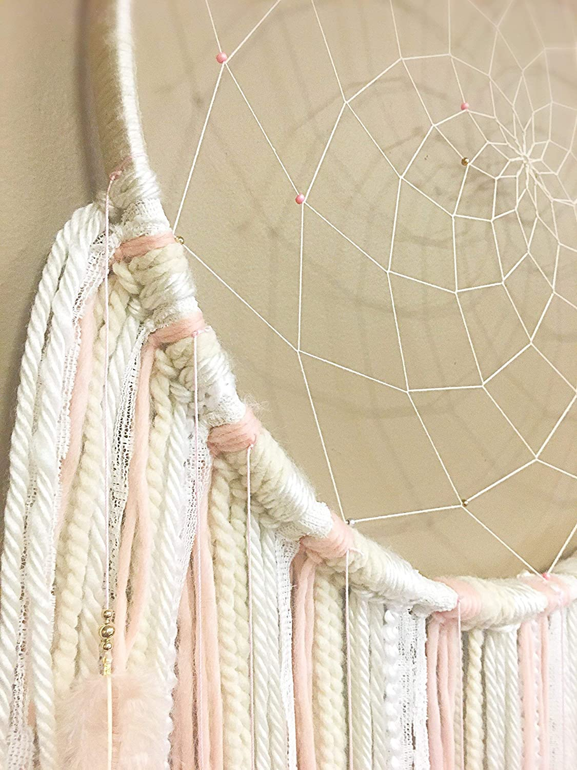 Boho Dream Catcher Large Dreamcatcher Bohemian Dreamcatcher Boho Home Decor Nursery Decor Blush Wallhanging XL Dreamcatcher Pink Dreamcatcher