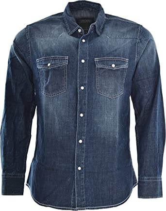 Attire - Camisa vaquera de manga larga para hombre, corte regular, color azul