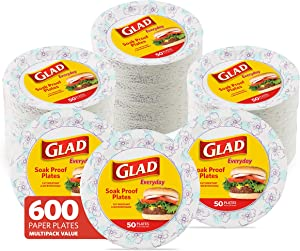 Glad Round Disposable Paper Plates for All Occasions   New & Improved Quality   Soak Proof, Cut Proof, Microwaveable Heavy Duty Disposable Plates   10