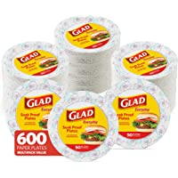 Glad Round Disposable Paper Plates for All Occasions | New & Improved Quality | Soak Proof, Cut Proof, Microwaveable…