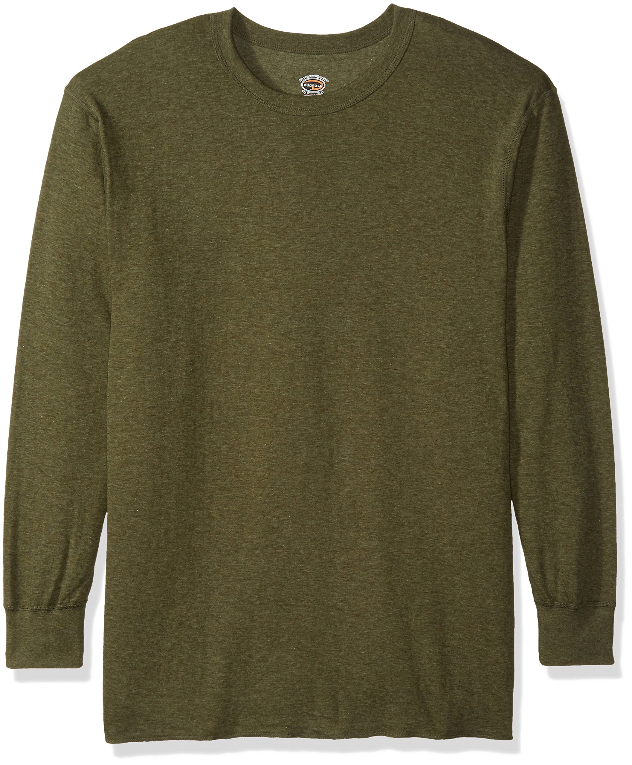 Duofold Men's Mid-Weight Crew Thermal Shirt Neck Thermal Shirt Sleepwear, Olive Heather, 2X Large