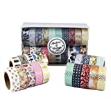 Modern & Vintage Washi Tape Set - 20 Premium Decorative Tapes | Includes 7 Gold Foil Washi Tape | 10M Rolls | Scrapbooks, DIY Crafts, Cards, Journals, planners, gifts