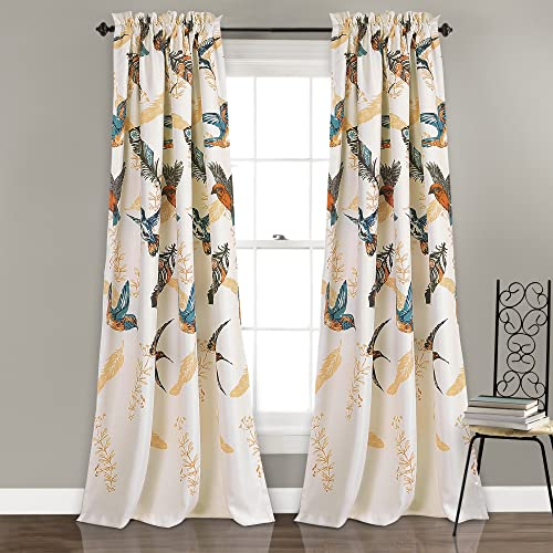 Lush Decor Bird Breeze Room Darkening Window Curtain Panel Set, 84 x 52 2 , Multicolor