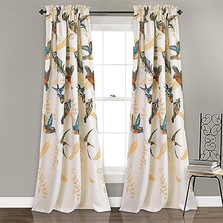 Lush Decor Bird Breeze Room Darkening Window Curtain Panel Set, 84 x 52 2 , Multicolor