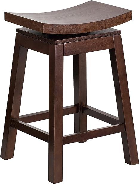 Amazon Com Flash Furniture 26 High Saddle Seat Cappuccino Wood