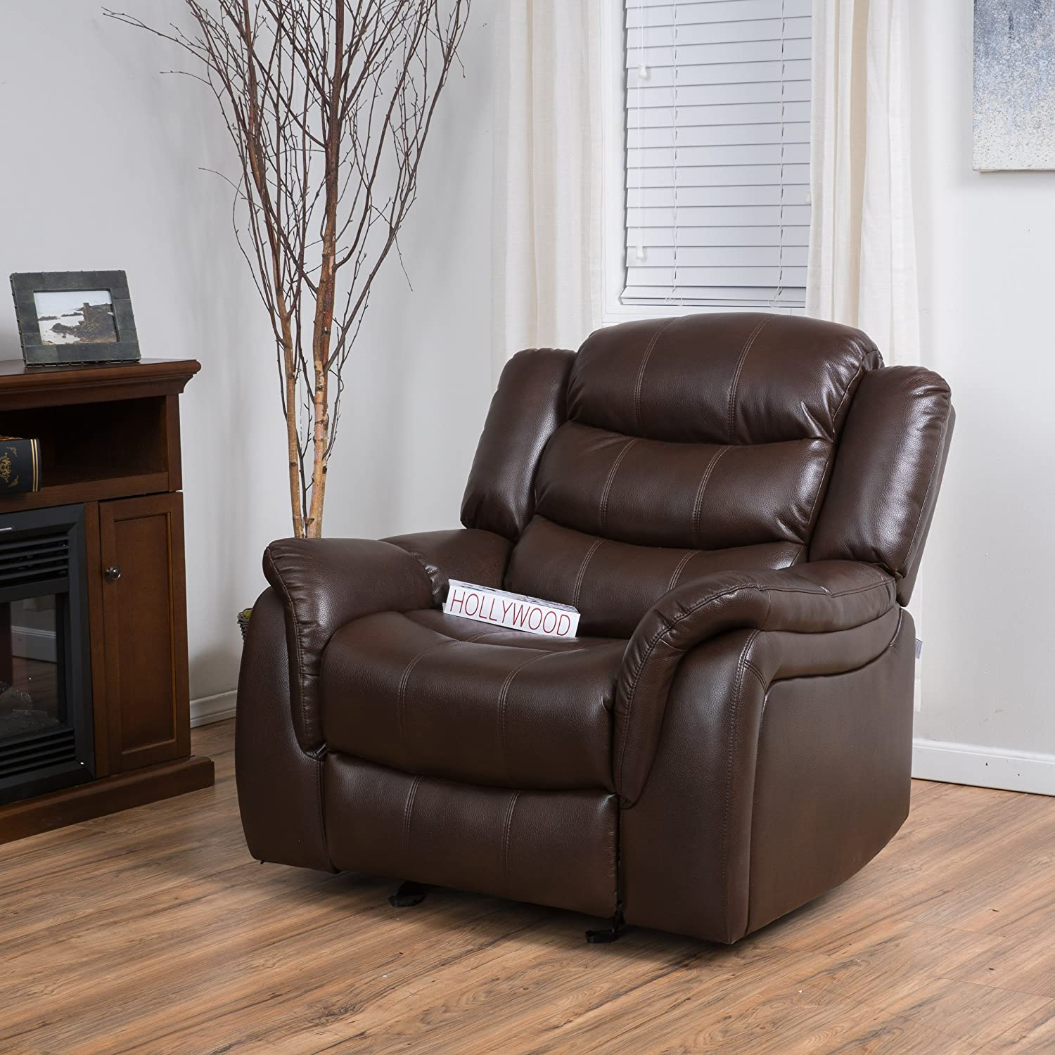 Amazon Merit Brown PU Leather Glider Recliner Club Chair