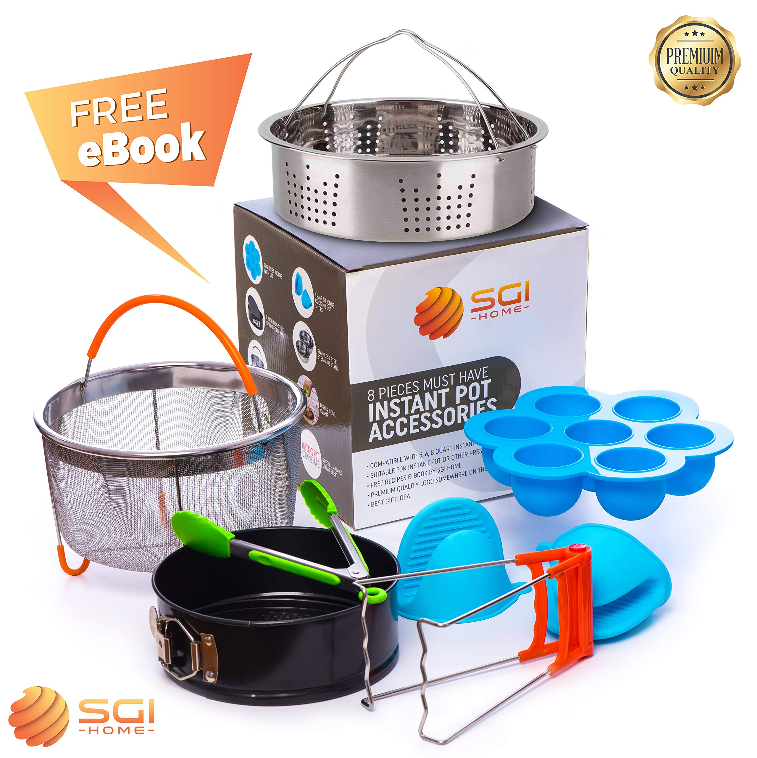 Instapot Accessory – Instant Pot Accessories Fits 5 – 6 – 8 Qt - Steamer Basket - Cake Pan - Silicone Gloves - Egg Bites Mold – Tong – Bowl Clip – Cook Times Magnetic Cheat Sheet
