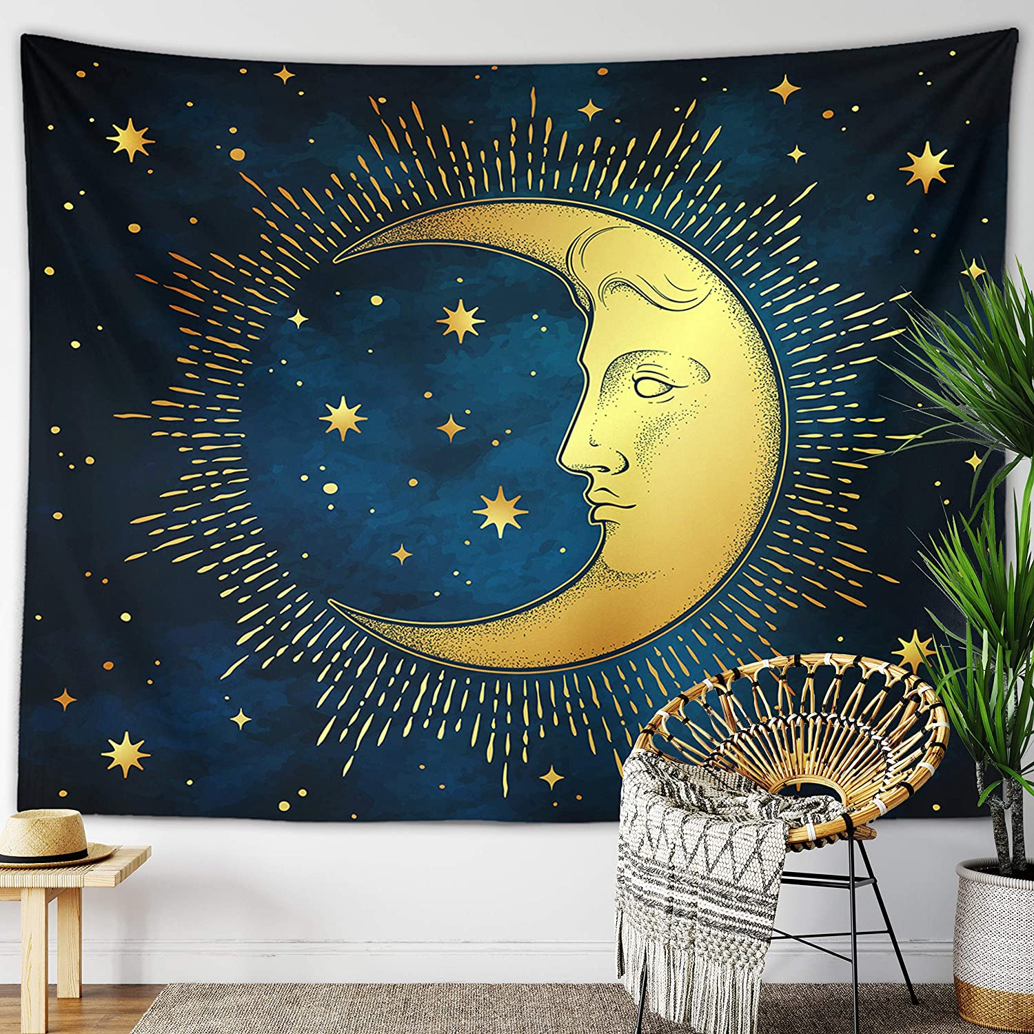 "Sun Moon Tapestry Starry Night Wall Hanging Moon Landscape Constellations Lunar Phases Bohemian Eclipse Black and White Wall Decor Astrology Galaxy Boho Celestial Tapestry (Blue Moon Face, 59""x79"")"
