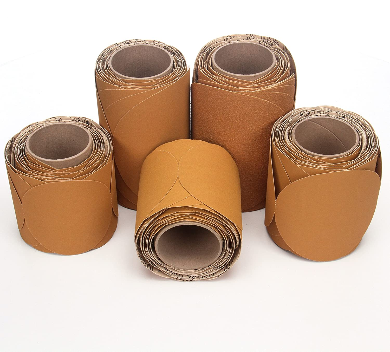 Roll of 100 Gold 6 Diameter 00051144217946 3M Stikit Paper Disc Roll 363I PSA Attachment 6 Diameter Aluminum Oxide 60 Grit