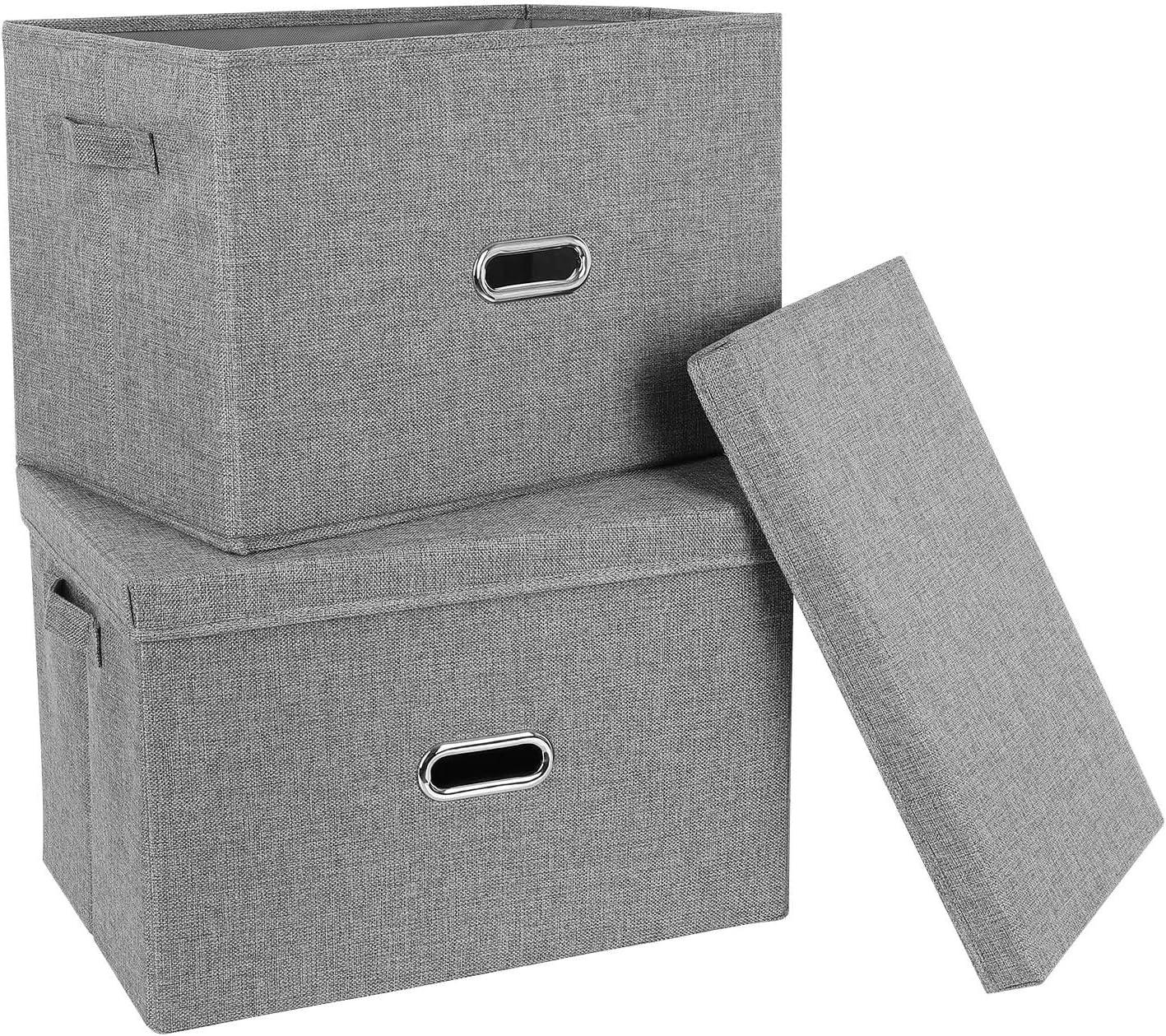 Homfa 2Pcs Organizador de Cajones Cajas de Almacenaje Plegable con Tapa Manija Anillo de Tiro para Sujetadores Bragas Calcetines Gris 44.5x29x29.5cm