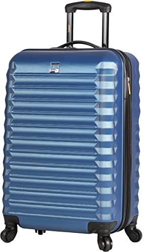 Lucas Treadlight 20 Inch Carry On Luggage Collection -Expandable Scratch Resistant ABS PC Hardside Suitcase- Lightweight Durable Checked Bag With 4-Rolling Spinner Wheels Steel Blue