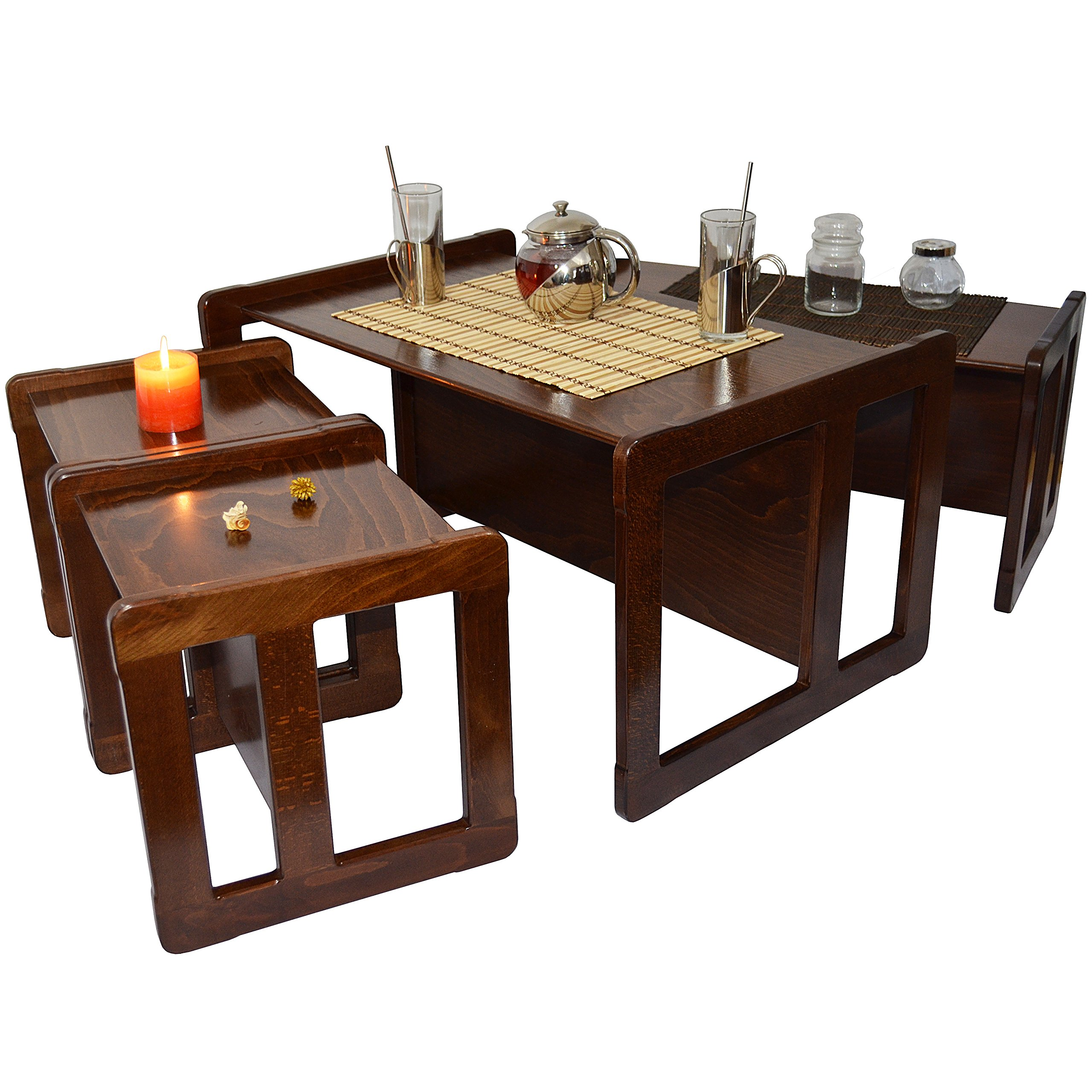 3 in 1 Adults Multifunctional Nest of Coffee Tables Set of 4 or Childrens Furniture Set of 4, 2 Small Chairs or Tables and 1 Small Bench or Table and 1 Large Bench or Table Beech Wood, Dark Stained