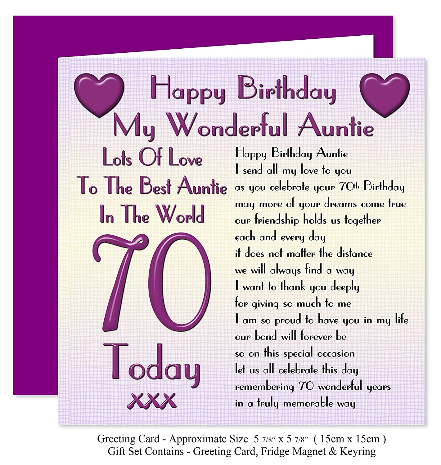 Auntie 70th happy birthday gift set card keyring fridge auntie 70th happy birthday gift set card keyring fridge magnet present lots of love to the best auntie in the world 70 today amazon office kristyandbryce Choice Image