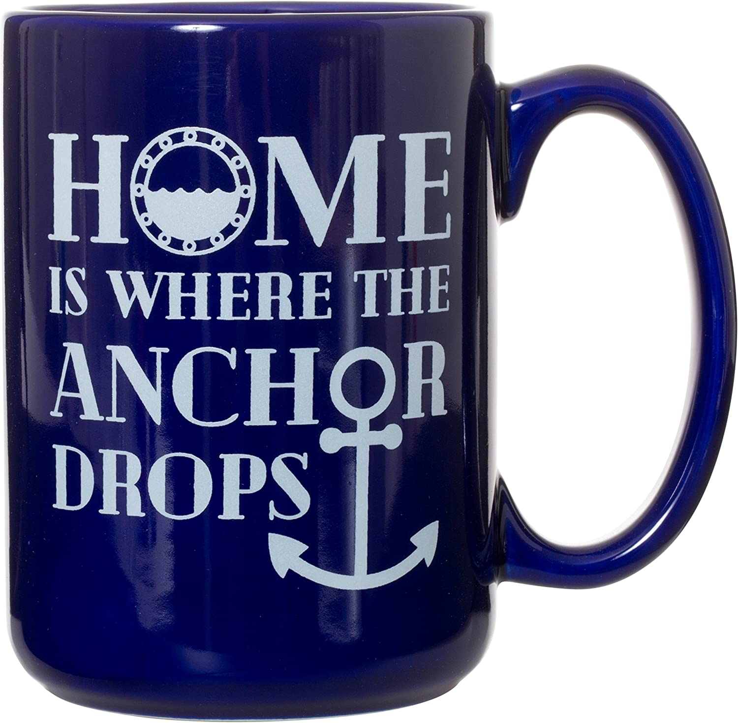 Home Is Where The Anchor Drops - Blue 15 oz Deluxe Double-Sided Coffee Tea Mug