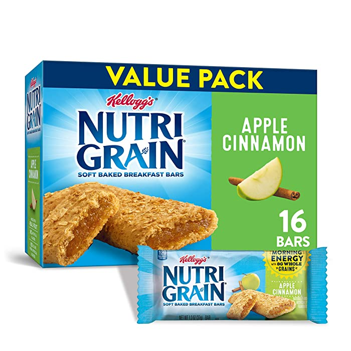 Kellogg's Nutri-Grain Soft Baked Apple Cinnamon Breakfast Bars - School Lunchbox Snacks, Individual Wrapped Bars (16 Count)