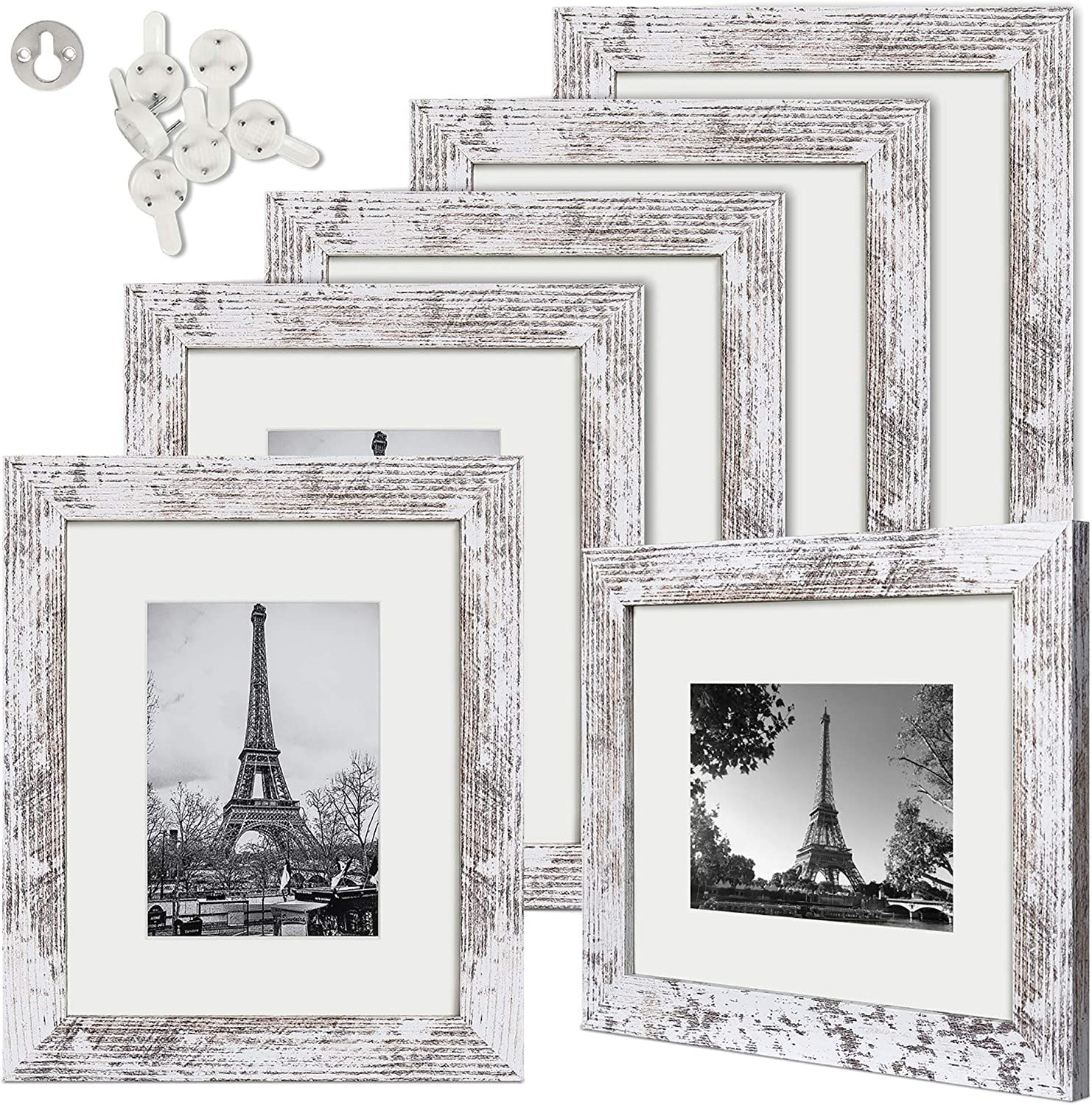 upsimples 8x10 Picture Frame Distressed White with Real Glass,Display Pictures 5x7 with Mat or 8x10 Without Mat,Multi Photo Frames Collage for Wall or Tabletop Display,Set of 6