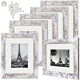 upsimples 8x10 Picture Frame Distressed White with Real Glass,Display Pictures 5x7 with Mat or 8x10 Without Mat,Multi Photo F