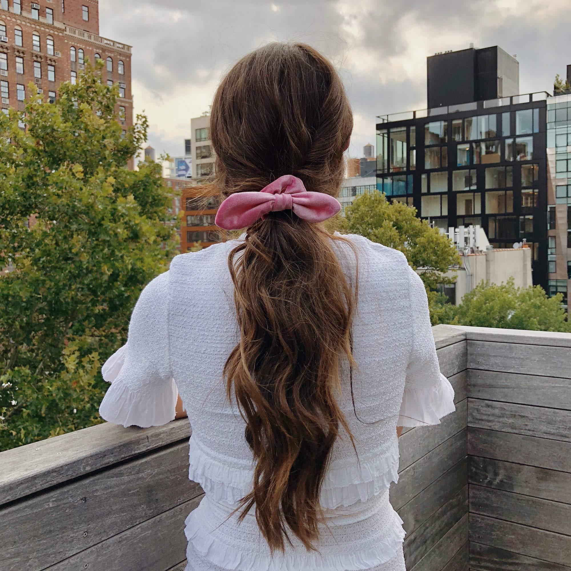 Simnice 25 Pack Hair Scrunchies Rabbit Bunny Ear Bow Bowknot Scrunchie Velvet Scrunchy Bobbles Elastic Hair Ties Bands Ponytail Holder by Simnice (Image #8)