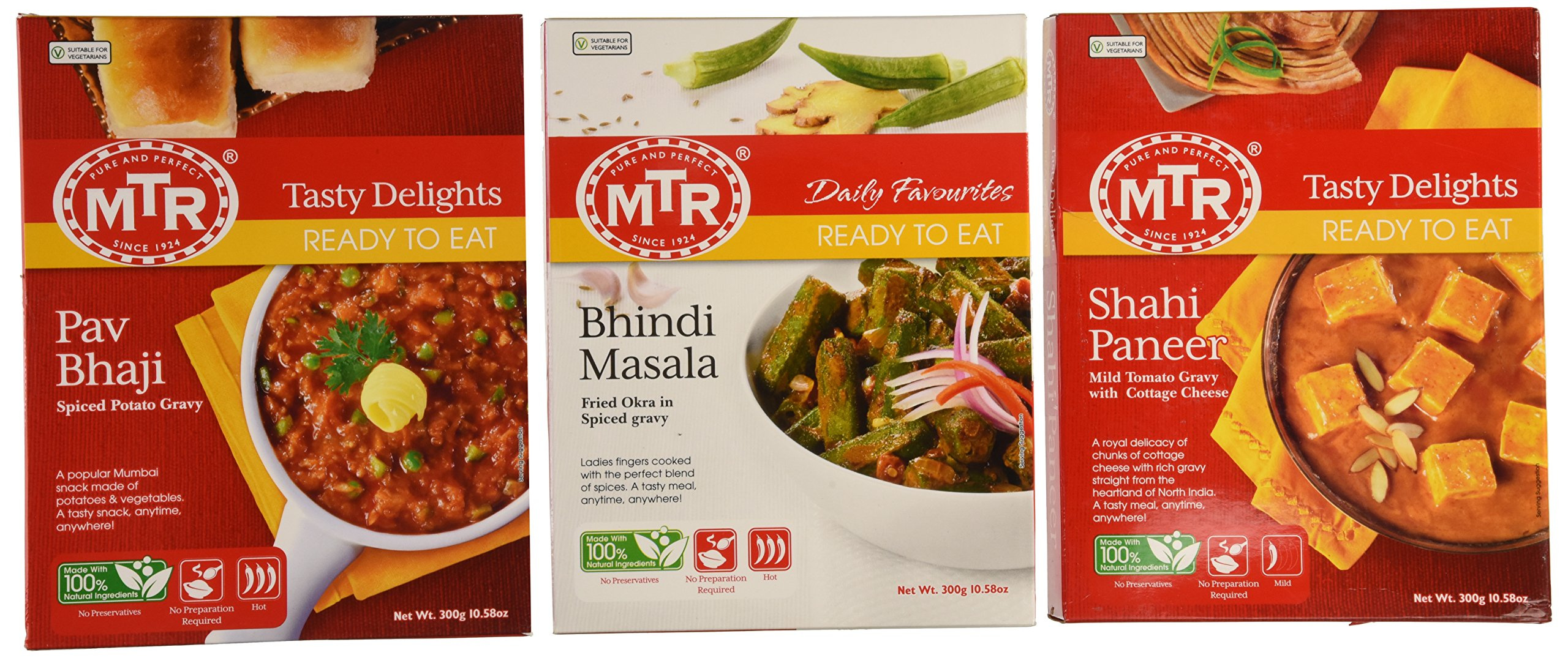 MTR Ready-to-eat Variety Pack - Shahi Paneer - 300g / Bhindi Masala - 300g / Pav Bhaji (Total of 3 Packs)