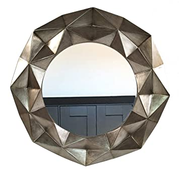 Geometrique Grand Rond Dore Antique Miroir Mural Pour Chambre A