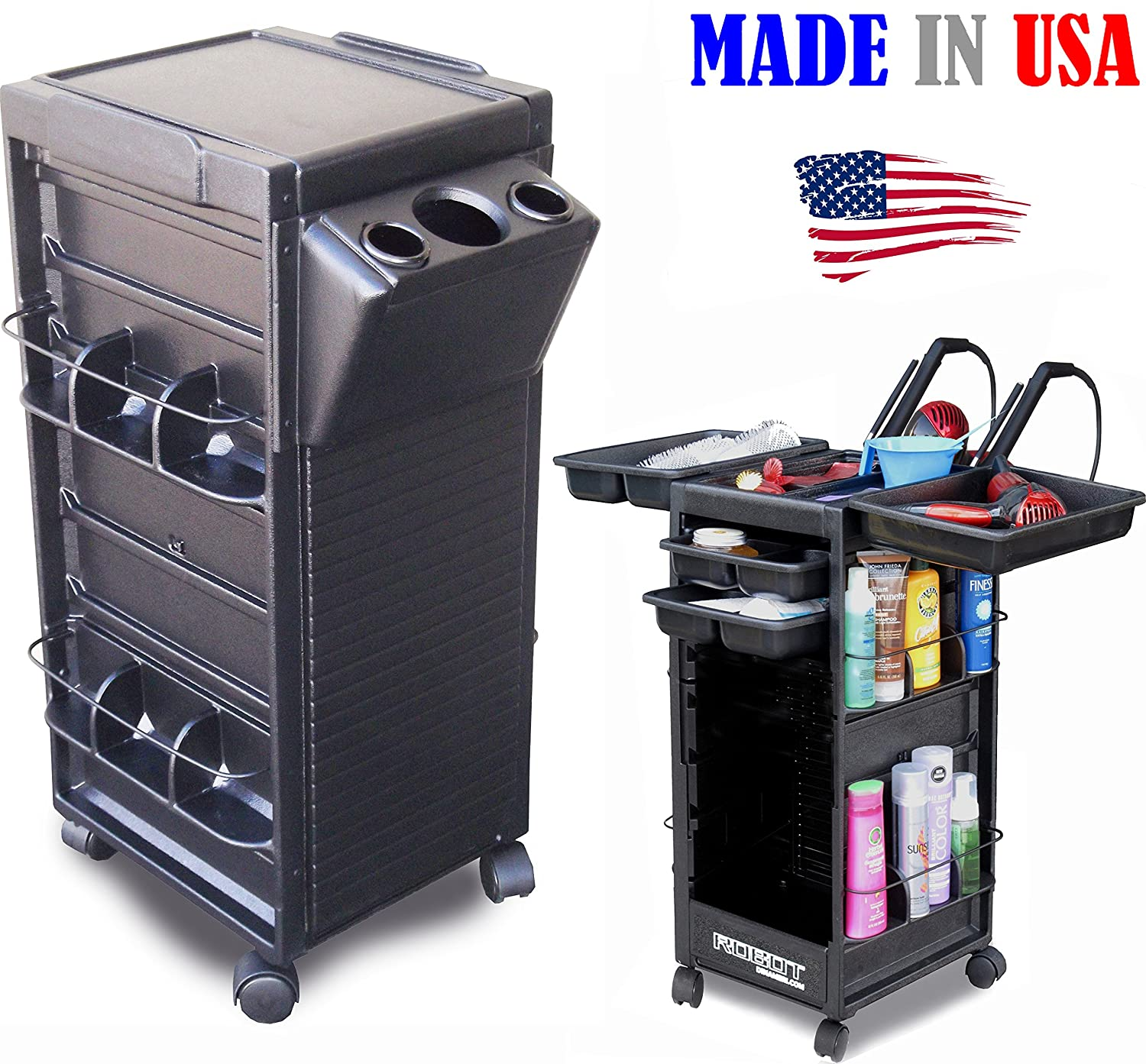 N20-H FF Salon Cart Rollabout Trolley NON LOCKABLE w/Tool Holder Made in USA by Dina Meri